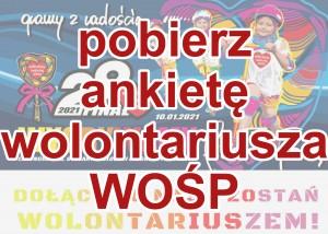 w tle rozjaśniony banner 29 finału wośp, na tym tle duży czerwony napis: powierz ankietę wolontariusza wośp