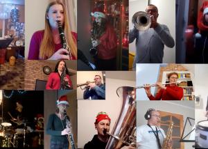 kolarz zdjęć muzyków w czasie grania na instrumentach. na każdym ujęciu jest jedna osoba