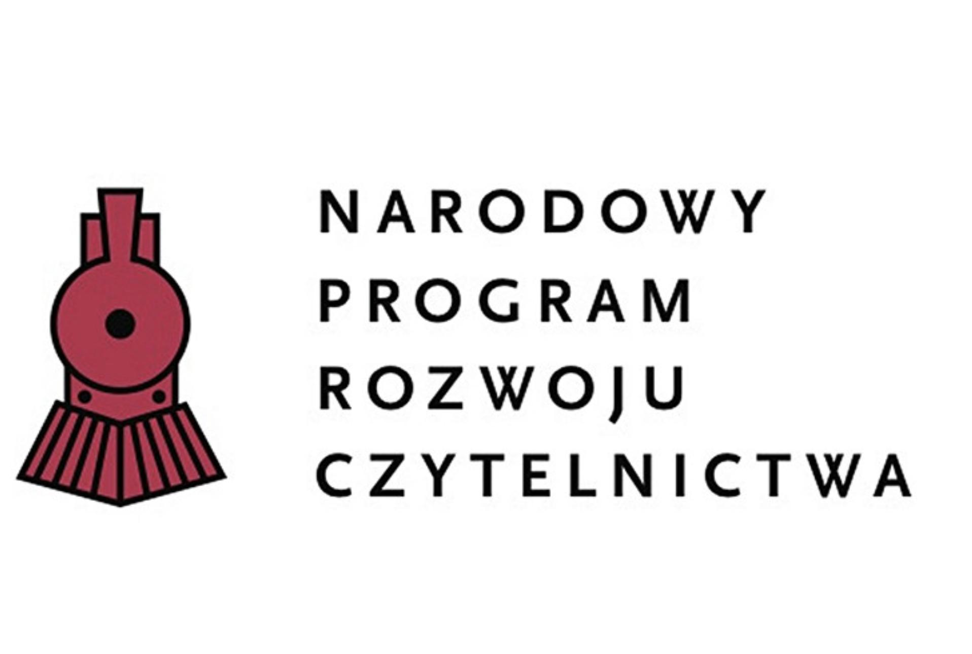 logotyp narodowego programu rozwoju czytelnictwa. białe tło z czarnym napisem, po lewej stronie uproszczony rysunek czerwonej lokomotywy