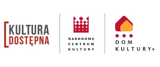 logotyp zbiorczy dom kultury plus. na białym tle od lewej napisy kultura dostępna, narodowe centrum kultury, dom kultury plus