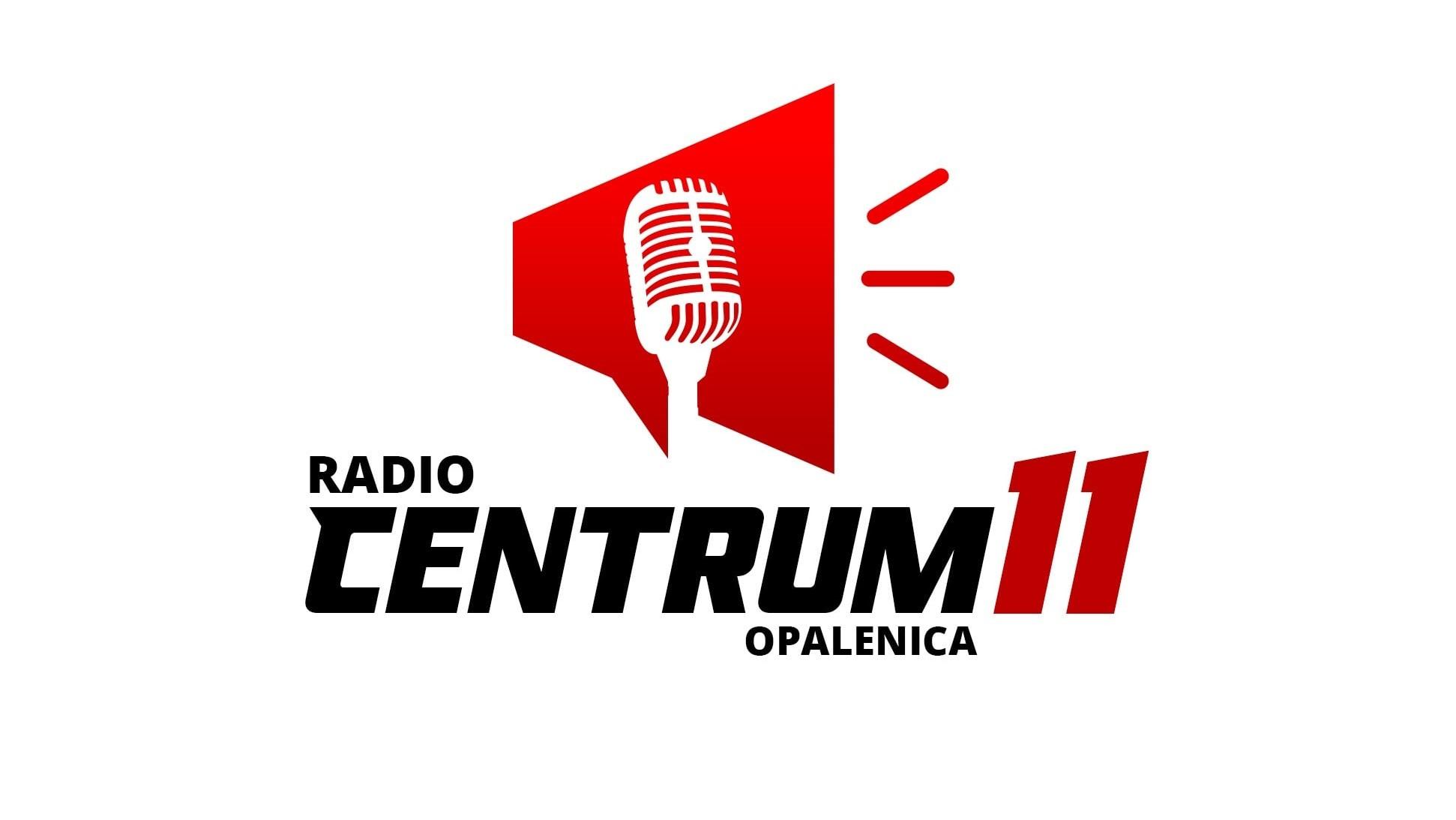 Logotyp Radio Centrum 11. Na białym tle czerwony megafon, a w nim narysowany biały mikrofon radiowy w starym stylu. czarny napis Radio centrum opalenica i czerwone 11