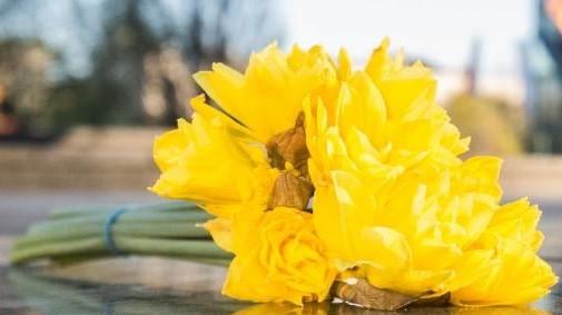Na pierwszym planie leżąca na chodniku wiązanka żółtych żonkili. reszta tła całkowicie rozmazana