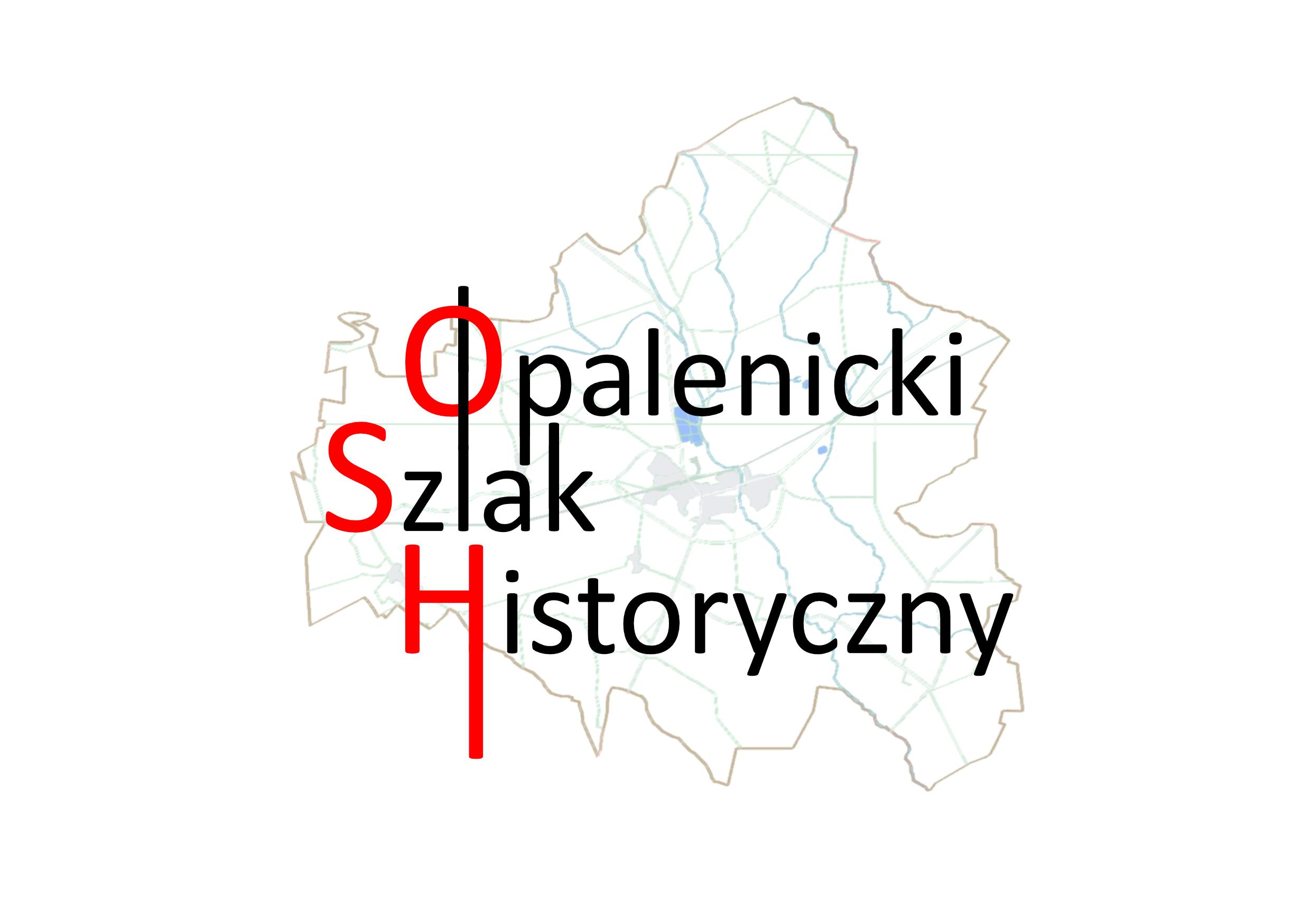 logotyp opalenickiego szlaku historycznego/ na bialym tle mapa gminy opalenica, a na niej proste czarne litery. pierwsza litera każdego słowa jest w kolorze czerwonym.
