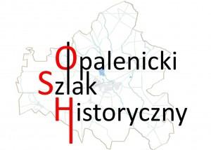 logo Opalenickiego Szlaku Historycznego, litery OSH są w kolorze czerwonym, w tle jest mapa w kształcie Gminy Opalenica