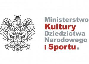 logotyp ministerstwa kultury dziedzictwa narodowego i sportu. na białym tle szare i czerwone litery, po lewej stronie orzeł z godła Polski