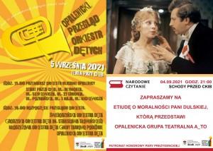 Dwa plakaty informacyjne, z lewej strony żółto-pomarańczowy informujący o Opalenickim Przeglądzie Orkiestr Dętych, po prawej stronie plakat biało-czerwony informujący o Narodowym Czytaniu Moralnosci Pani Dulskiej
