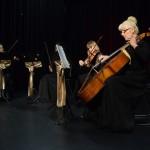 Zdjęcie zostało zrobione w sali widowiskowej CKiB, na scenie siedzi kwartet kobiecy smyczkowy, na pierwszym planie widać kobietę w średnik wieku grającą na kontrabasie