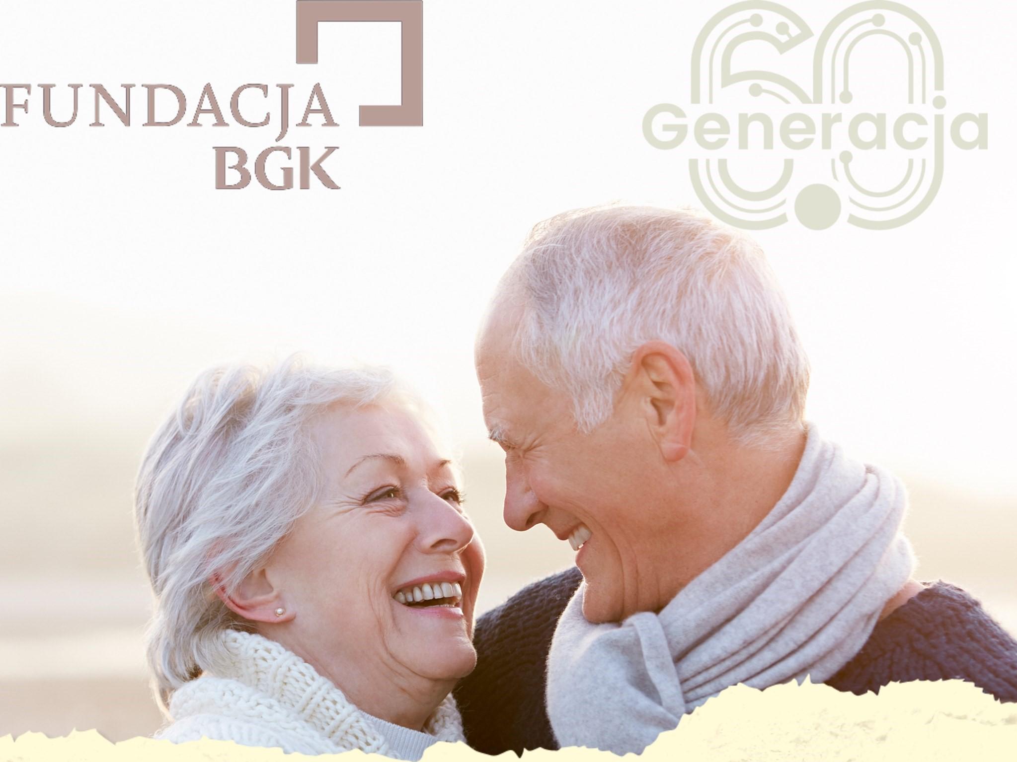 Grafika przedstawia kobietę i mężczyznę. Nad nimi znajdują się loga Fundacji BGK i Generacji 6.0.